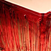 14' Red Metallic Tableskirt