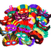 50 Count Feather Mask Assortment