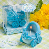 Adorable Baby Blue Carriage Candles
