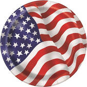 """American Flag Paper Plates - 9"""""""