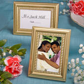 Beaded Design Gold Metal Place Card Photo Frames
