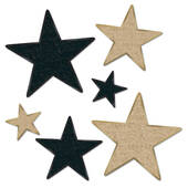 Black And Gold Glittered Foil Stars