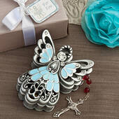 Blue And Pewter Color Angel Design Trinket Box