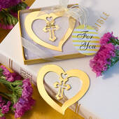 Heart And Cross Design Bookmark Favors