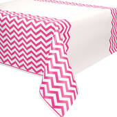 Hot Pink Chevron Plastic Table Cover