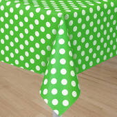 Lime Green Tablecover With White Polka Dots