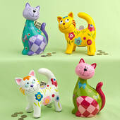 Multicolored Ceramic Kitty Banks