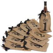 Numbers 1-10 Burlap Table Number Wine Bags