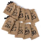 Numbers 21-30 Burlap Table Number Wine Bags