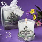 Regal Favor Collection Cross Themed Candle Holders