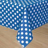 Royal Blue Tablecover With White Polka Dots