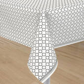 Silver Quatrefoil Plastic Table Cover
