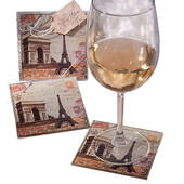 Vintage Paris Themed Coaster Set