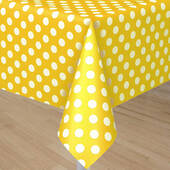 Yellow Tablecover With White Polka Dots