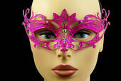 Hot Pink Metal Venetian Crown Top Mask