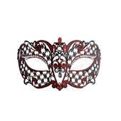 Venetian Black With Red Accent Metal Half Mask