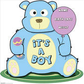 Its A Boy Teddy Bear Lifesized Standup