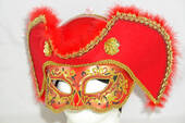 Men's Red Pirate Half Mask