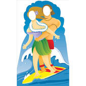 Surfer Couple Stand In Lifesized Standup