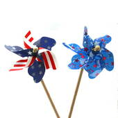 Deluxe Patriotic Pinwheel On Wooden Stick