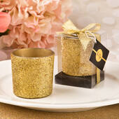 Gold Glitter Candle Holder with Candle