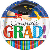Graduation Stripes Paper Plates - 8 5/8""