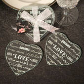 Heart Design Glass Coaster Favors Set