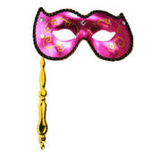Hot Pink Masquerade Stick Mask