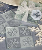 Lustrous Snowflake Glass Coaster Set
