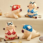 Multicolored Ceramic Little Piggy Banks