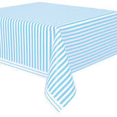 Powder Blue Striped Plastic Table Cover - Rectangle