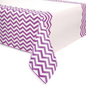 Purple Chevron Plastic Table Cover - Rectangle
