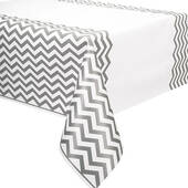 Silver Chevron Plastic Table Cover - Rectangle