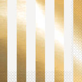 Striped Gold Foil Lunch Napkins