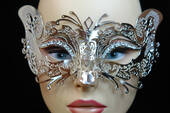 Silver Metal Venetian Cat Mask