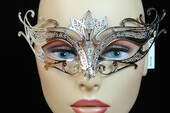 Silver Metal Venetian Crown Top Mask