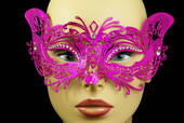 Hot Pink Metal Venetian Cat Mask