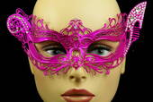 Hot Pink Venetian Metal Mask With Side Gems