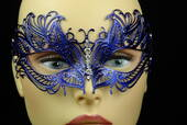 Blue Metal Venetian Mask With Jewel Nose
