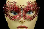 Red Metal Venetian Mask With Jewel Nose