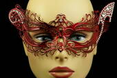 Red Venetian Metal Mask With Side Gems