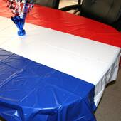 Red White And Blue Patriotic Plastic Table Cover - Rectangle