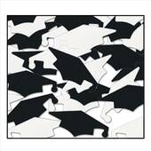 Black And White Graduation Cap Confetti