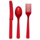 Red Fork Knife And Spoon Set - Plastic