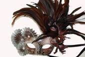 Brown And Silver Half Mask With Fans And Feathers
