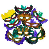 50ct Bulk Feather Mardi Gras Mask Assortment