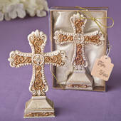 Antique Ivory Cross Statue with a Matte Gold Filigree Detailing