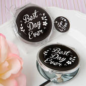 Best Day Ever' Silver Metal Compact Mirror with Black Epoxy Top