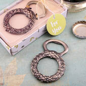 Botanical Floral Wreath Design Bronze Metal Bottle Opener