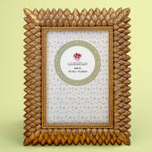 Brushed Gold Leaf Design 4 x 6 Frame